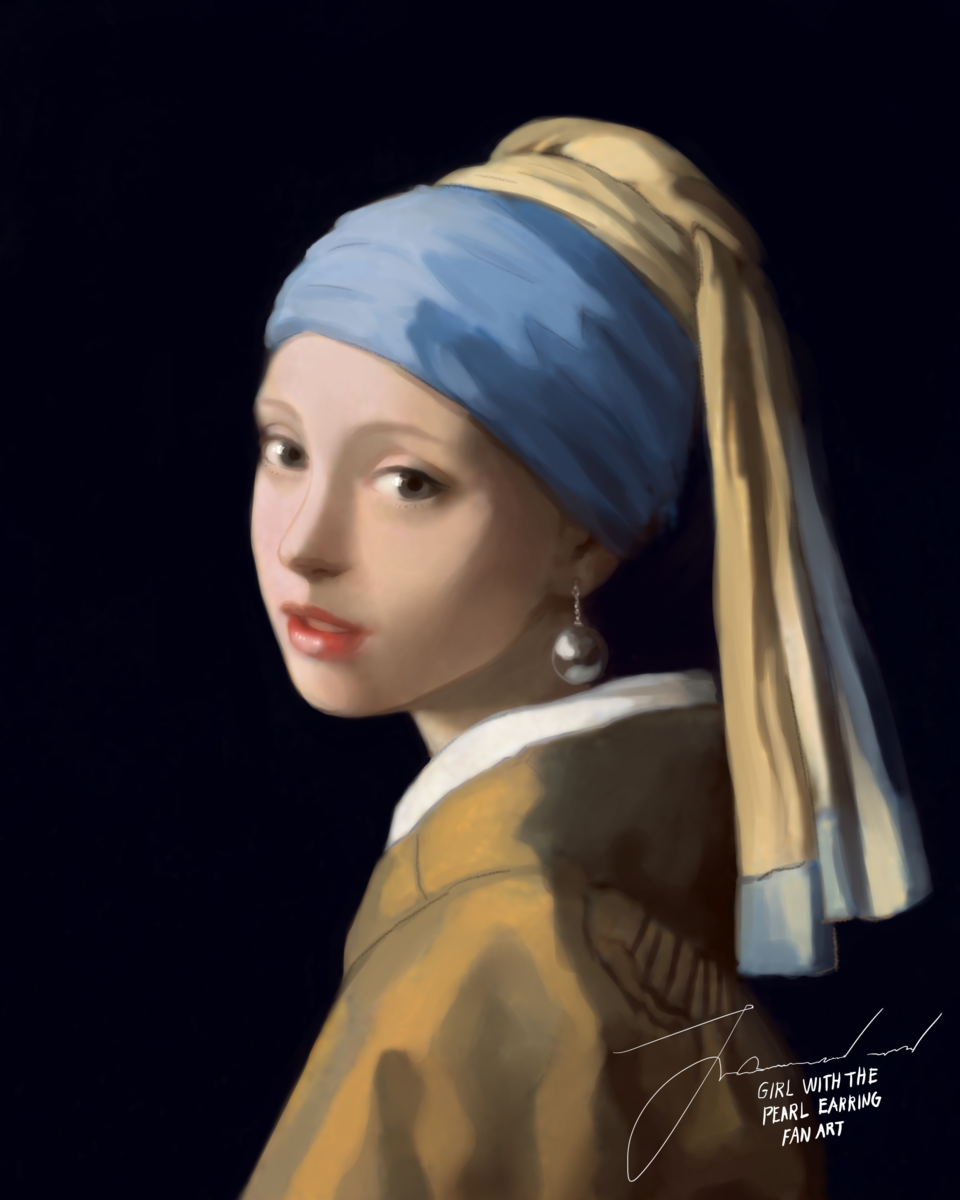 Girl with the Pearl Earring fan art Illust of KarmaSan MasterpieceFanart illustration digitalillustration girl digitalpainting love art drawing beautiful artist digital