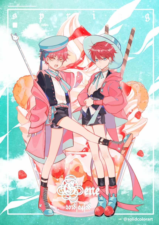 ICE CREAM Illust of Gene food ice-cream 美少年 kawaii パフェ