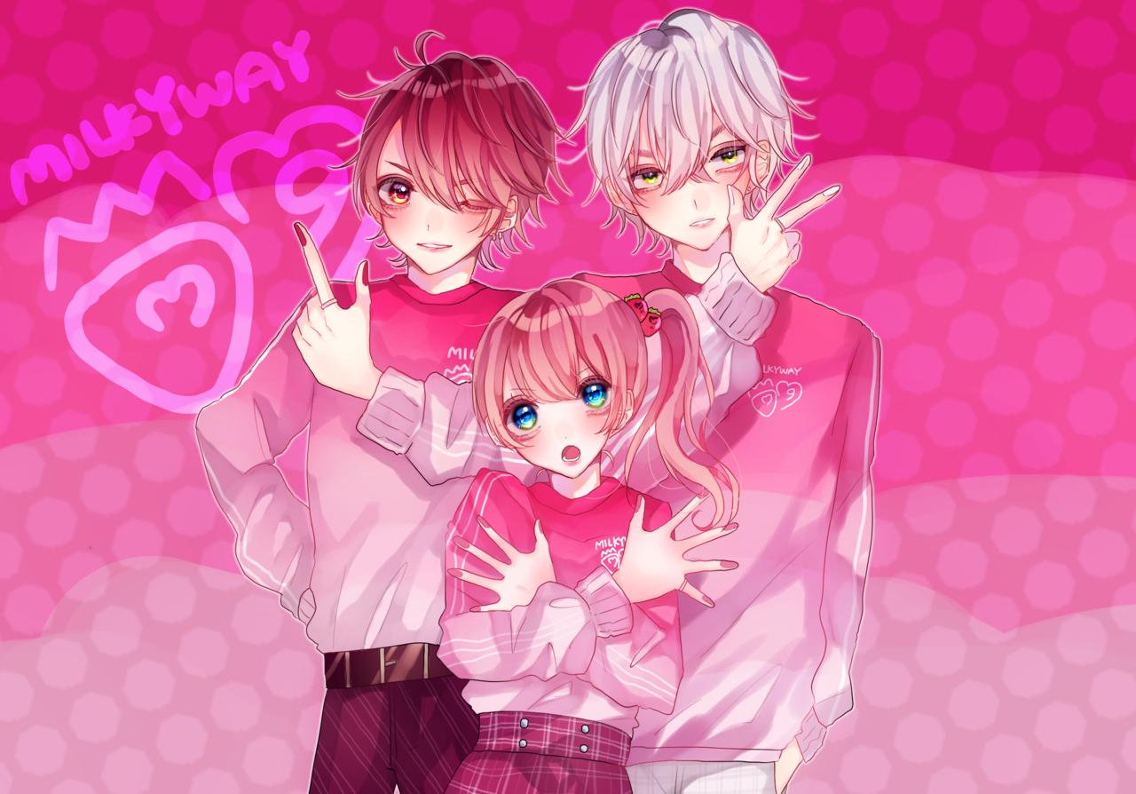 いちごみるく🍓🍼 Illust of MELRi pink girl oc original illustration kawaii boy