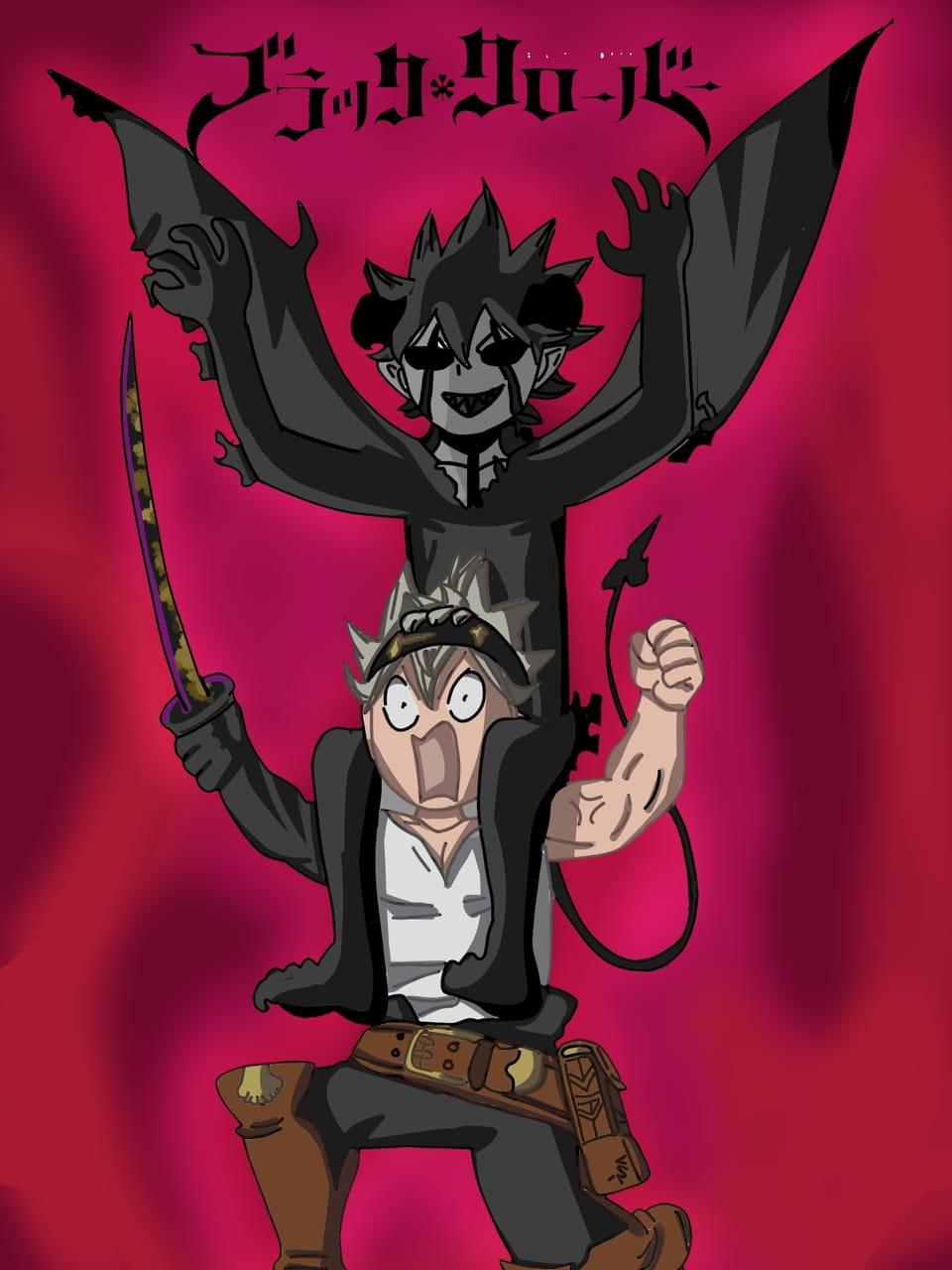 ASTA Y LIEBE, Black Clover!! Illust of Stiben-San digital fanart BlackClover blackandwhite night original friend artist