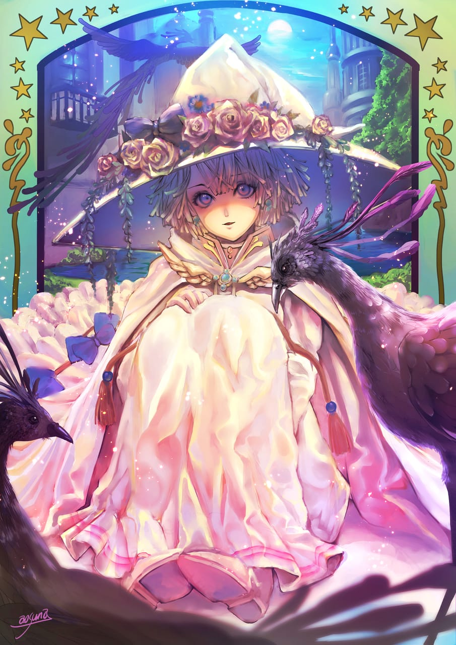 白の魔女 Illust of 青砂時計 fantasy February2021_Fantasy oc ファンタジーキャラ 魔法使い original flower