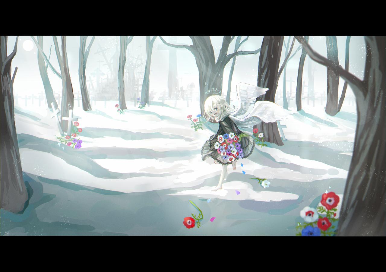 道連れ Illust of なむ February2021_Fantasy original angel アネモネ flower medibangpaint 羽 scenery snow