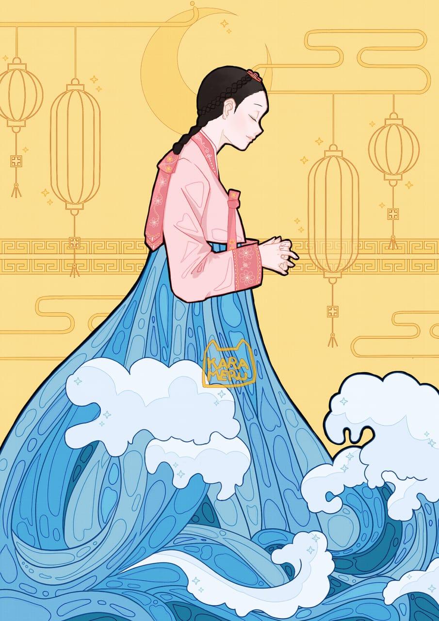 Ocean waves hanbok Illust of karameru digitaldrawing illustration aesthetic Korean digital digitalartwork