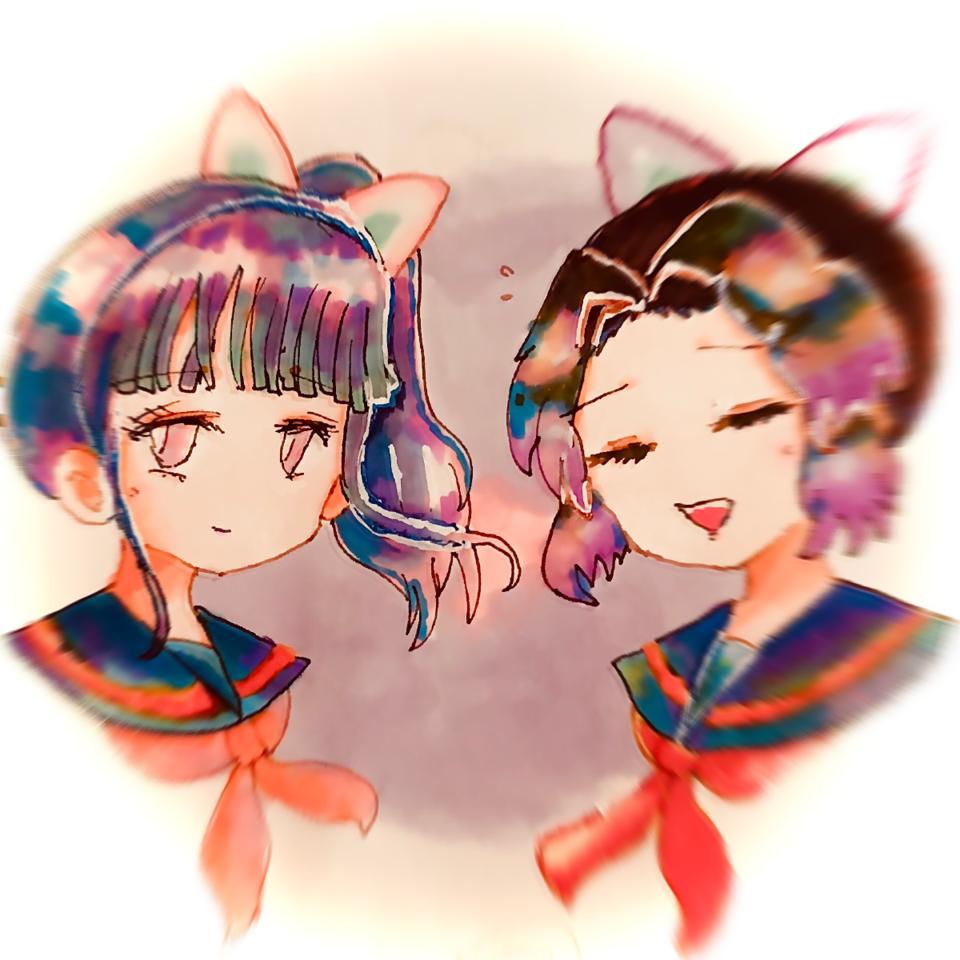 落書きちゃん Illust of ねむこ@しばらくやすみ コメントはします アナログ girl TsuyuriKanao KimetsunoYaiba doodle fanart KochouShinobu sailor_uniform