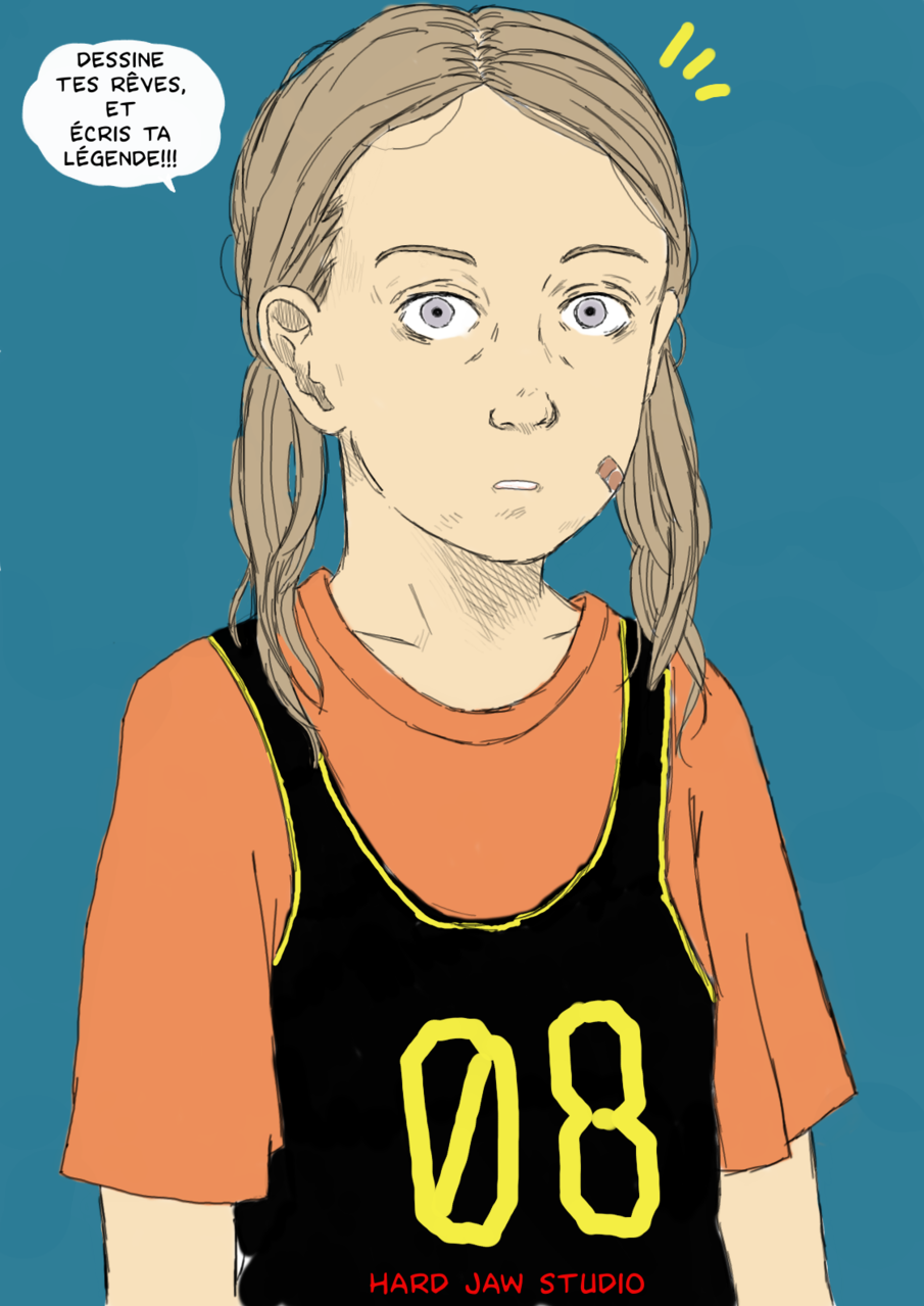 Basket-Ball girl. Illust of Hard-Jaw sports drawing portrait Comics digital tablette dessin art Artwork girl color bd manga Gimp basketball intuos