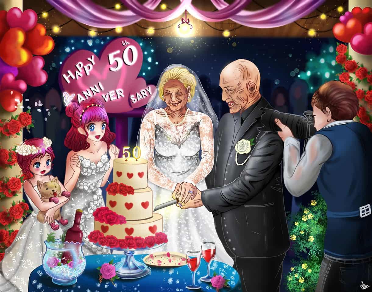 Happy 50th anniversary Illust of Cheesywhiskers romance July2020_Contest:Anniversary rose illustration couple oc iPad_raffle original Fingerpaint medibang medibangpaint