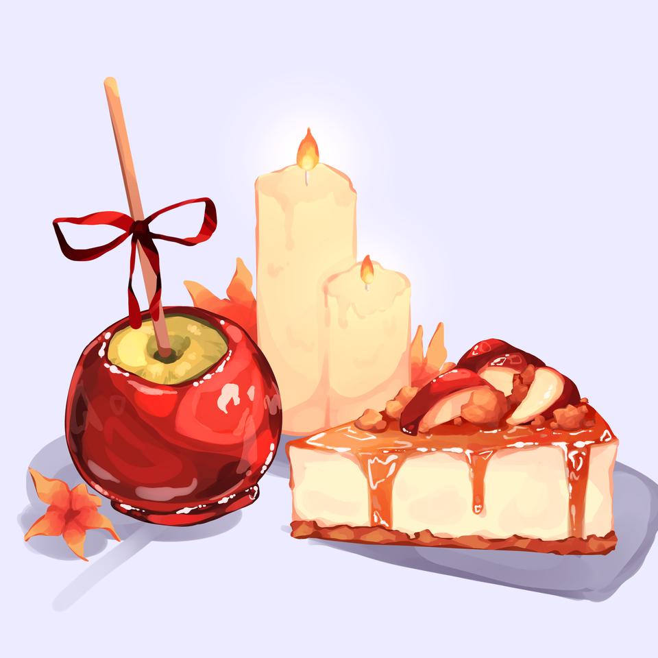 October themed food! Illust of Mumechi October2020_Contest:Food apple cute iPad_raffle food