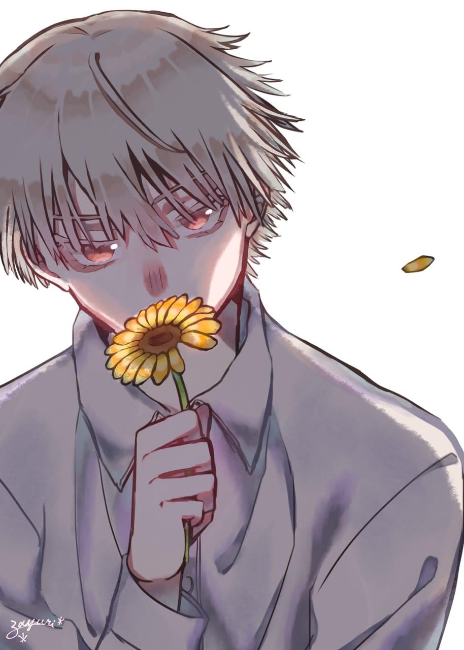 君へ。 Illust of fayuri * ひまわり original white_hair oc boy white