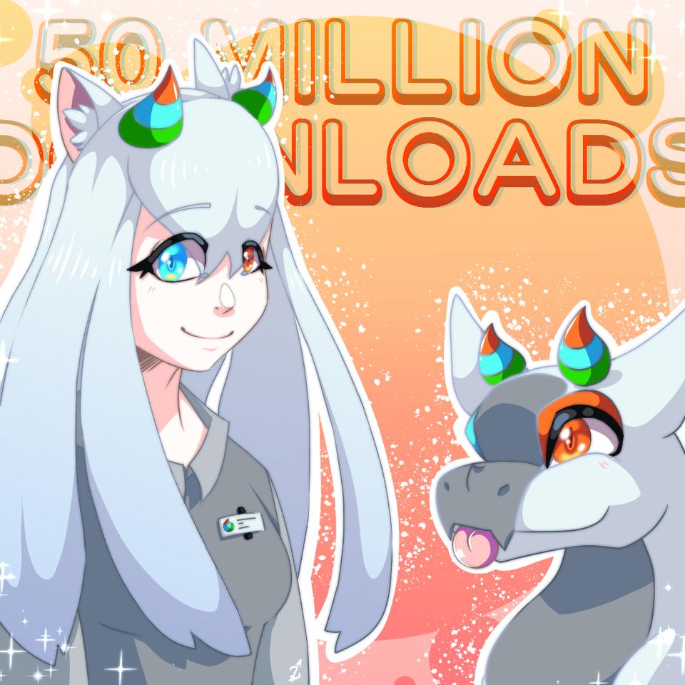 Medibang 50 Million Downloads!!! Illust of Zyvra Dragonfyre medibangpaint anime medibangpaint5000 girl furry oc cute dragon contest color