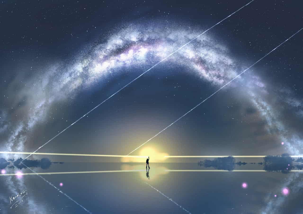Uyuni Salt Lake (Night) Illust of NameLess+NEET🕯️ milkyway anime uiyuni bolivia background saltlake
