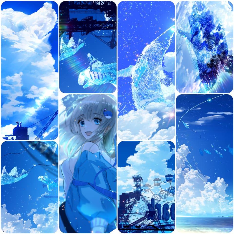 memories of summer Illust of まころん☆ anime scenery sky 美少女 background oc illustration star clouds kawaii