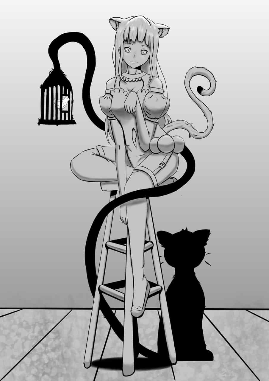 La jaula del Gato Negro Illust of ChocoArt March2021_Creature cat
