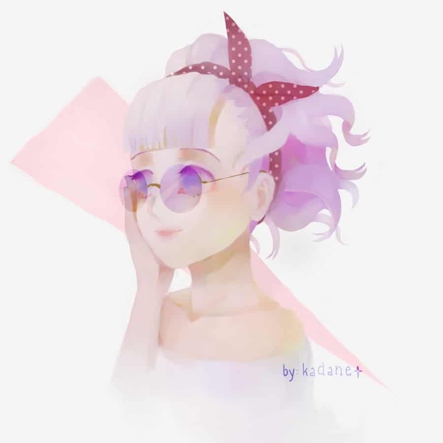Red Ribbon Illust of Pink.Crystal110 anime girl animeart purplehair glasses animegirl