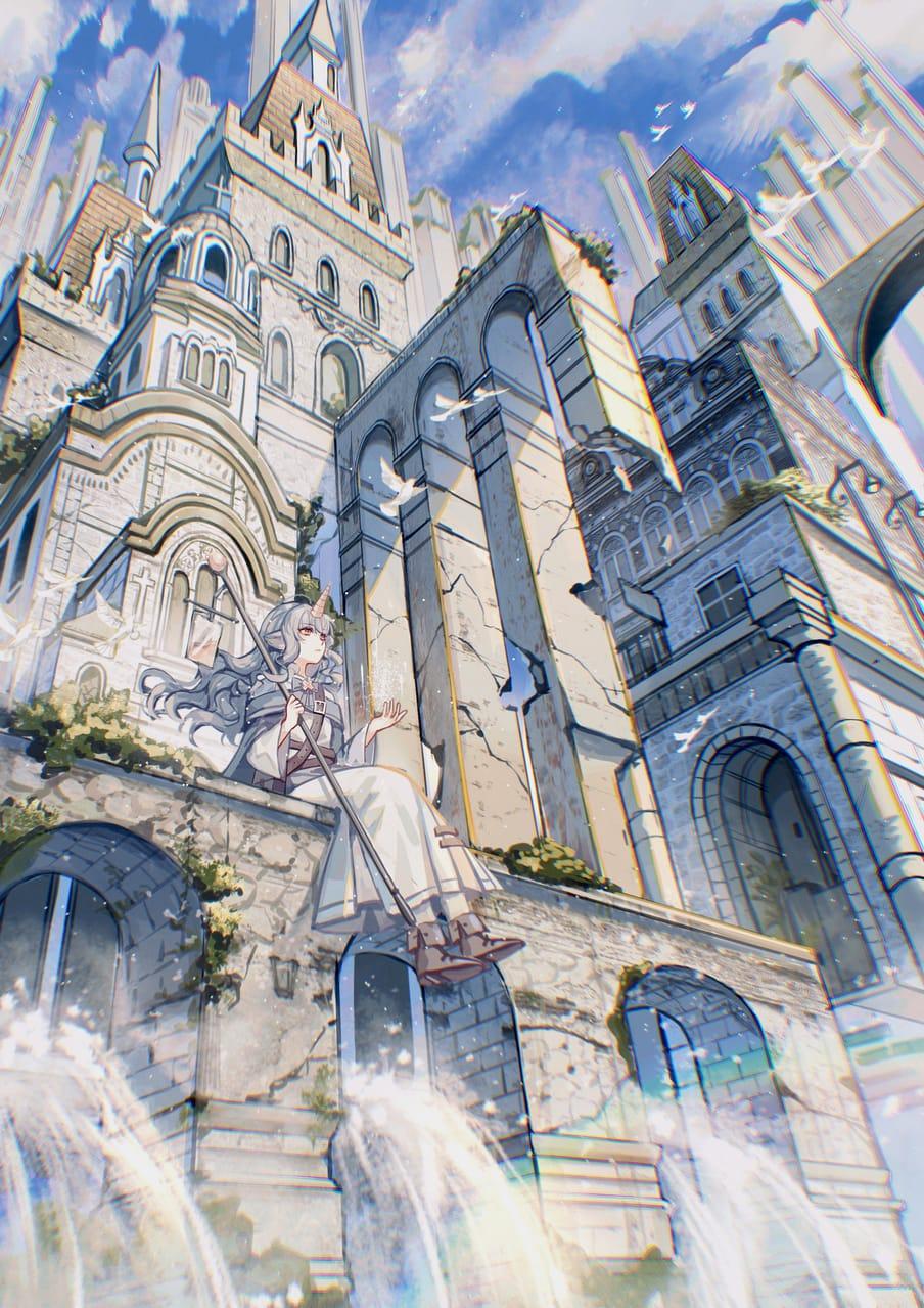 魔法之都 Illust of 白露 February2021_Fantasy background girl original