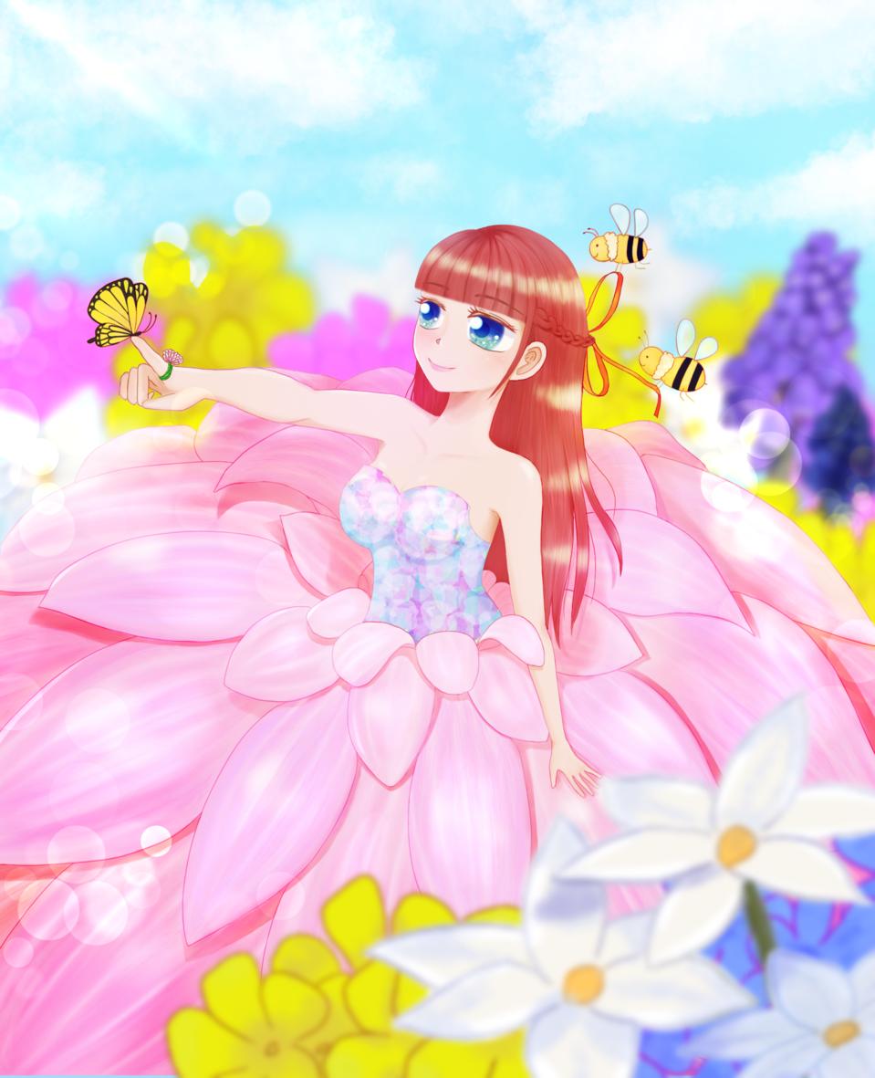 開花 Illust of chiwo 花畑 ストレートヘア Personification ハチ oc sky girl はな ロングヘア pink