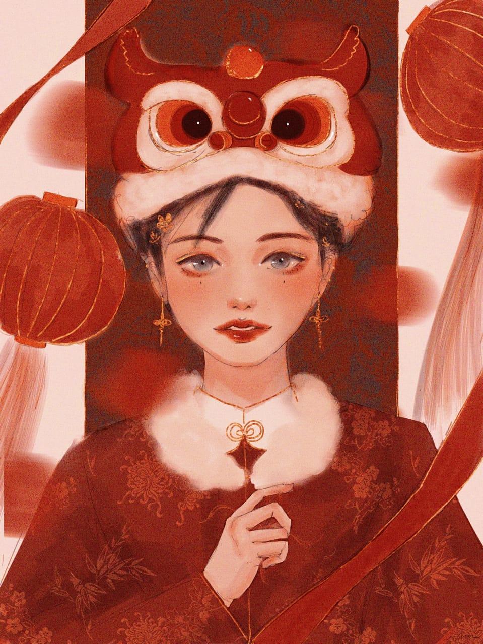 Spring Festival 2021 Illust of Jiayi red 2021 girl chinesenewyear chinese Lion original liondance Chinese lantern