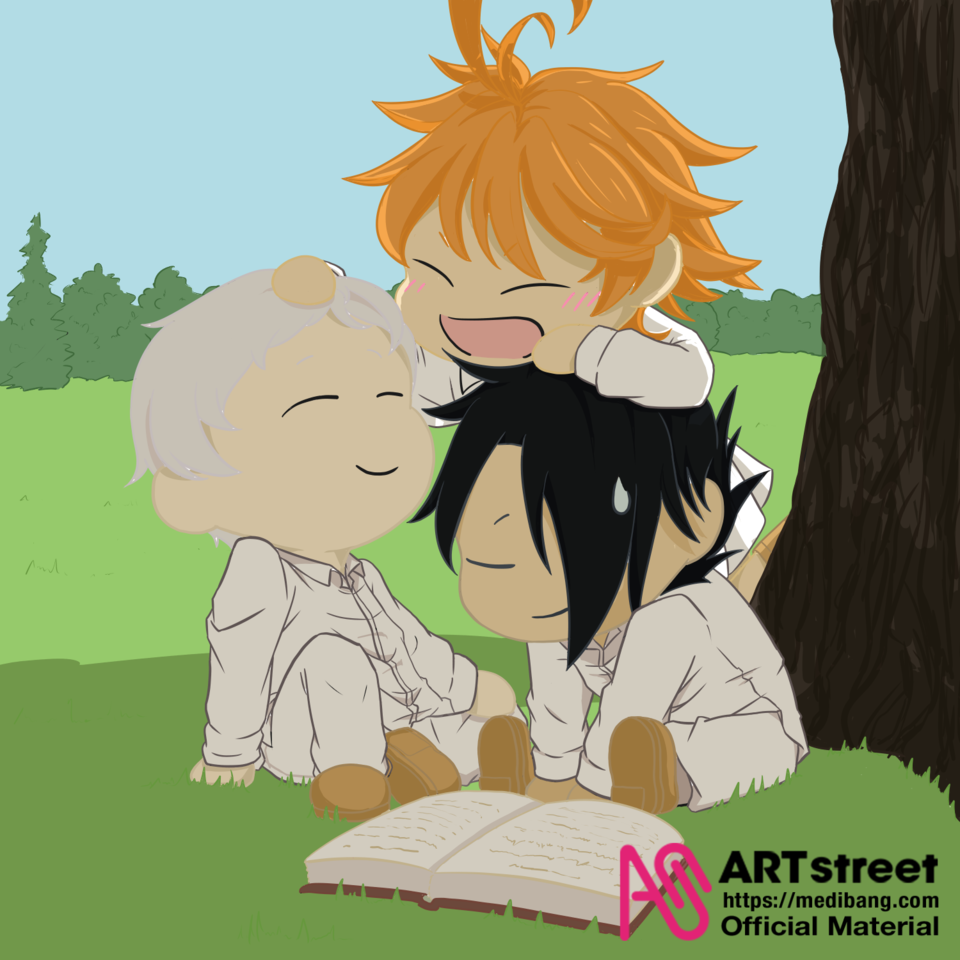 Blissful Moment Illust of akashirou yuurei medibangpaint Happy Trace&Draw【Official】 fanart Norman Emma emma promisedneverland Ray fanartdigital