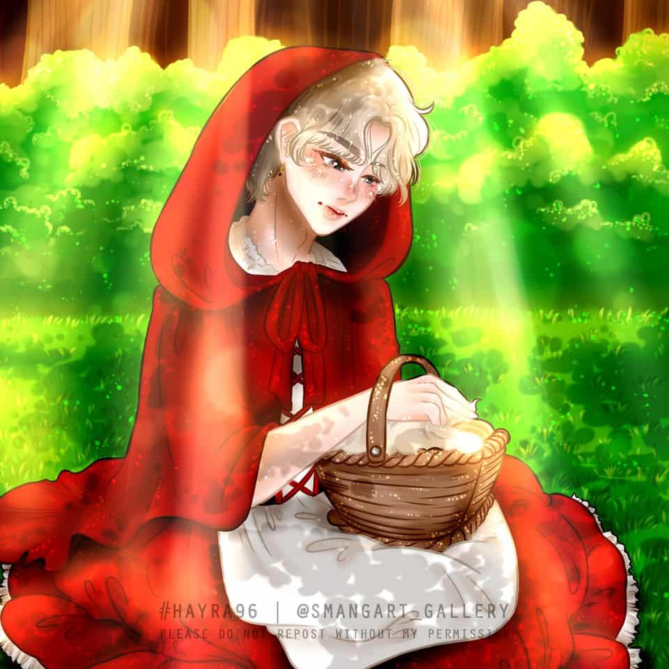 BTS Halloween [V as Red Riding Hood] Illust of Hayra96 white_hair art hayra96 fanart BTS digital illustration smangartgallery Artwork Halloween