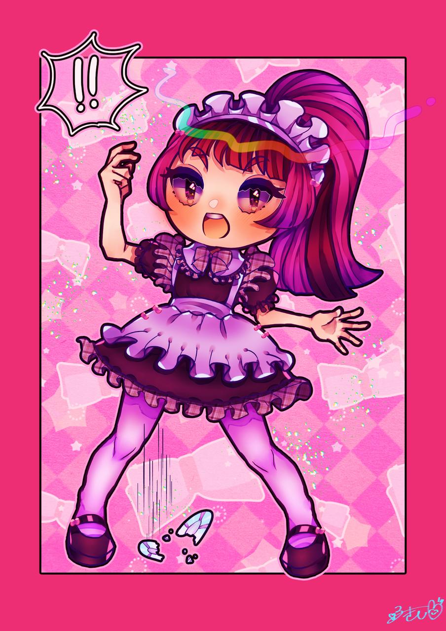 ちぇっくメイド Illust of カツシカルキコ original maid oc girl ponytail