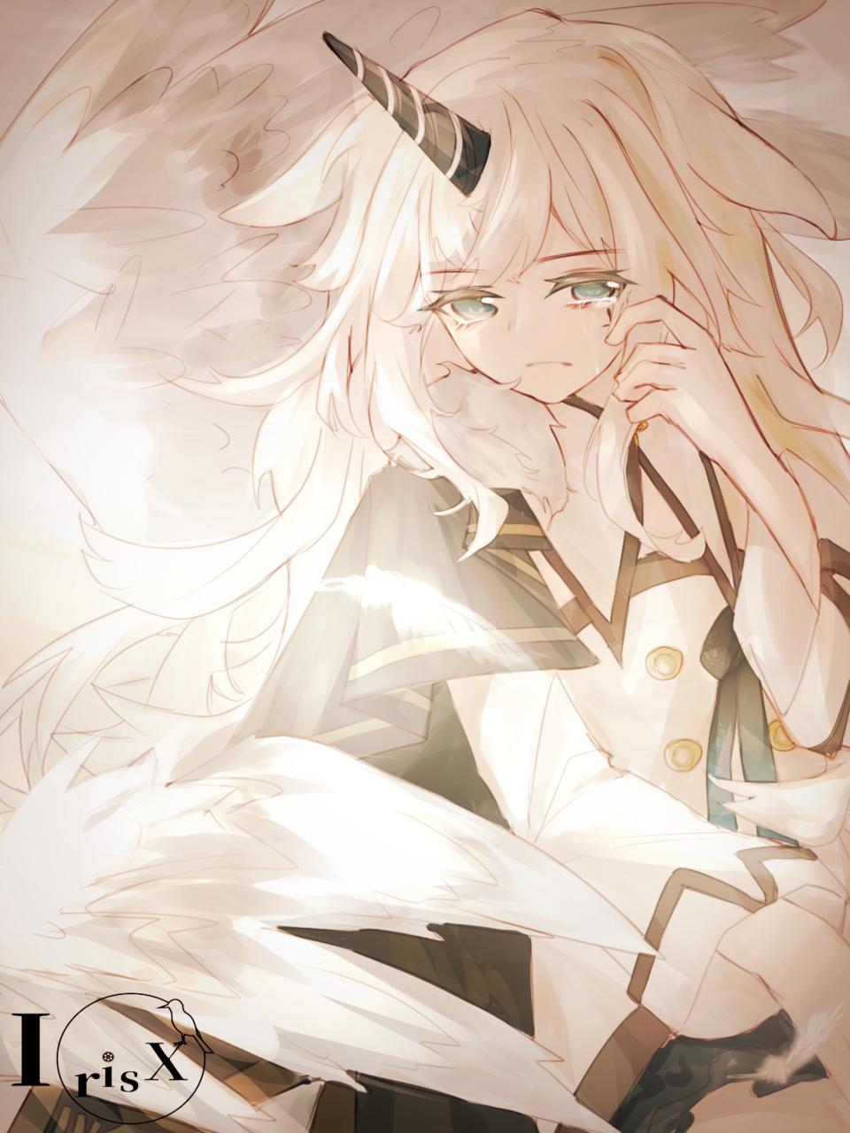 oc Illust of IrisX medibangpaint horn girl white_hair oc 板绘