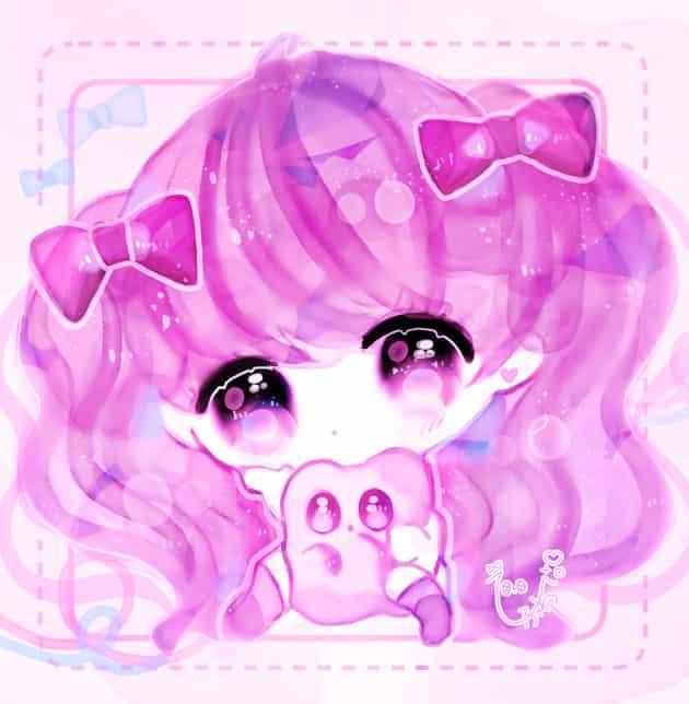 ちびちびちゃん Illust of ぴふわ girl デフォルメ ゆめかわいい pink twin_ponytails chibi