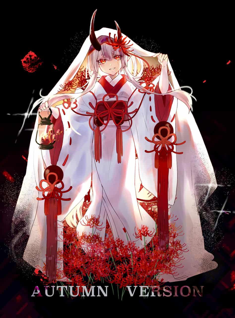 彼岸花 Illust of Comuno white_hair 彼岸花 kimono horn girl flower