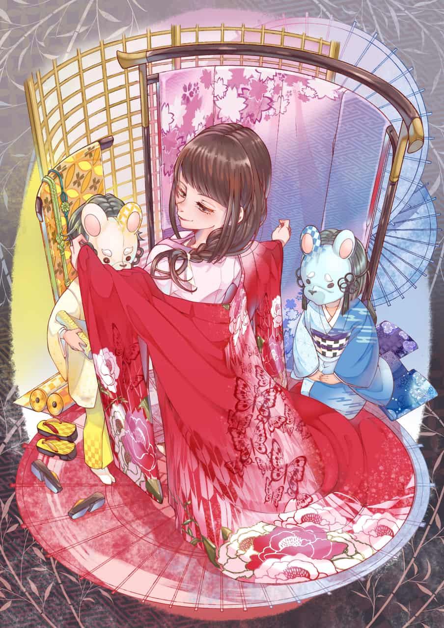 color Illust of 冬白くれ Kyoto_Award2020_illustration kimono girl