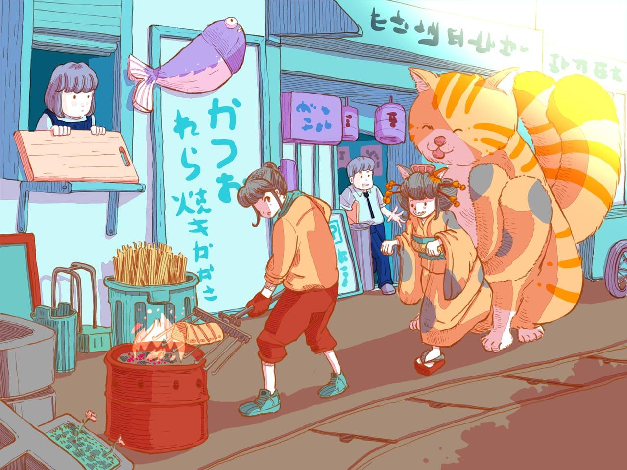 Katsuo restuarant and nekomata Illust of Wutikai February2021_Fantasy January2021_Contest:OC food cat cutegirl Japanese_style cute girl Restaurant youkai city fish cat_ears