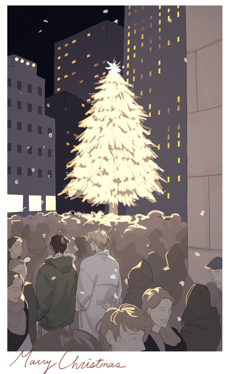 ash & eiji Christmas Illust of ion medibangpaint