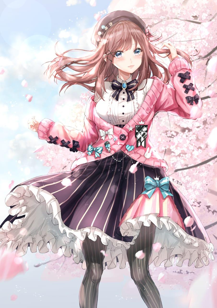 るるちゃん Illust of 華茵Cain pink girl 鈴原るる flower cute sakura にじさんじ kawaii