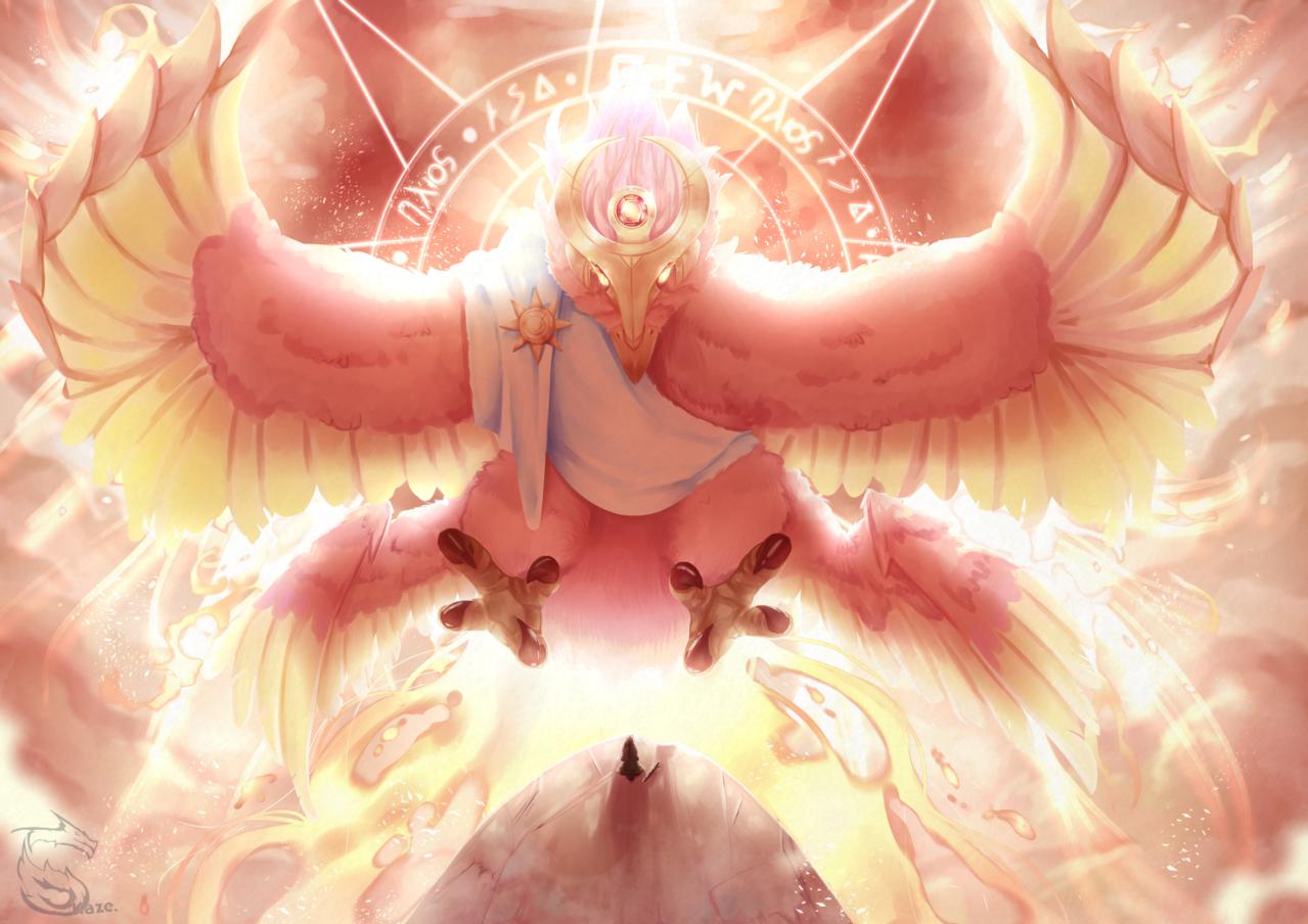 Birpollo, God of the Sun Illust of Kazecoo fantasy art original birds Medibang