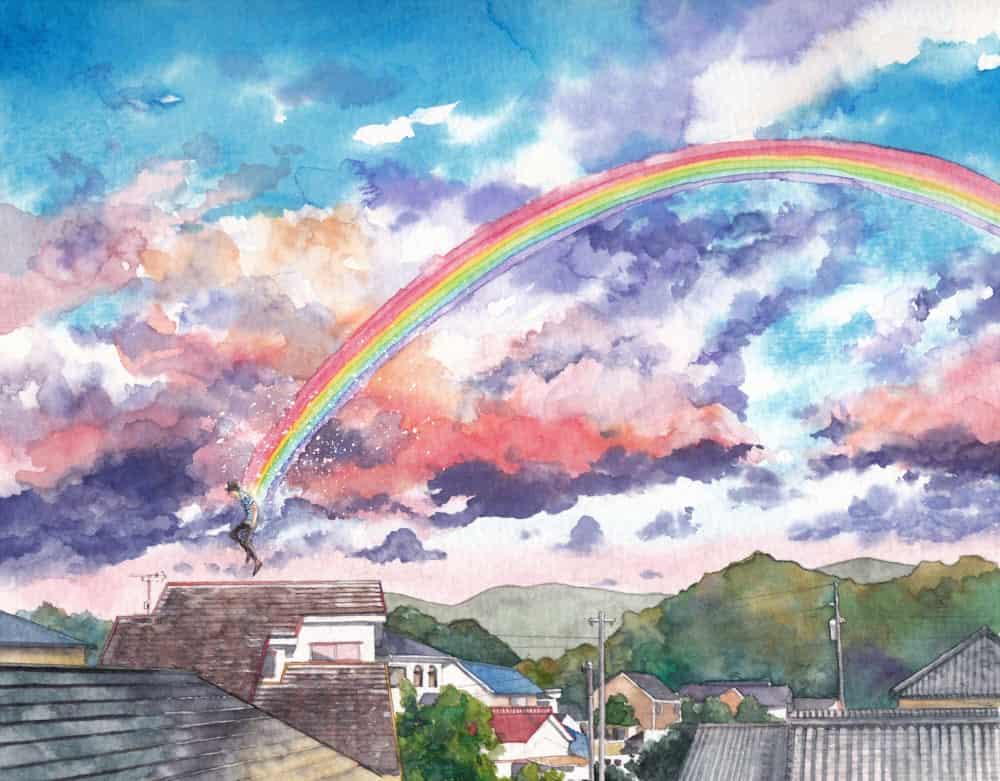 スキップ Illust of フジカワ rainbow watercolor scenery sky