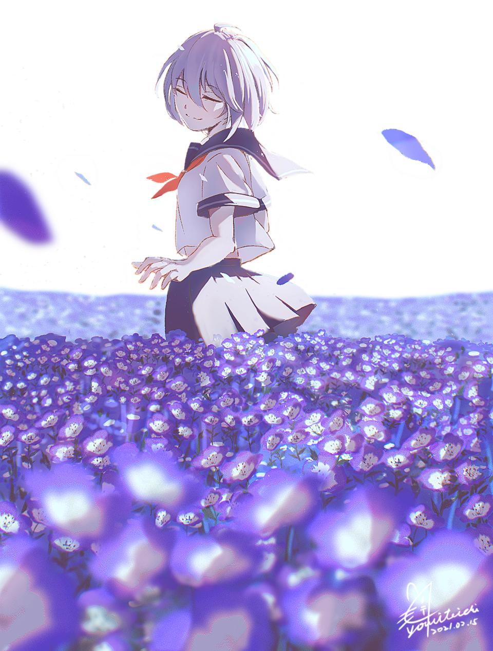 藍のエレジー Illust of 陳田こころ January2021_Contest:OC April2021_Flower illustration painting モネフィラ oc girl sailor_uniform