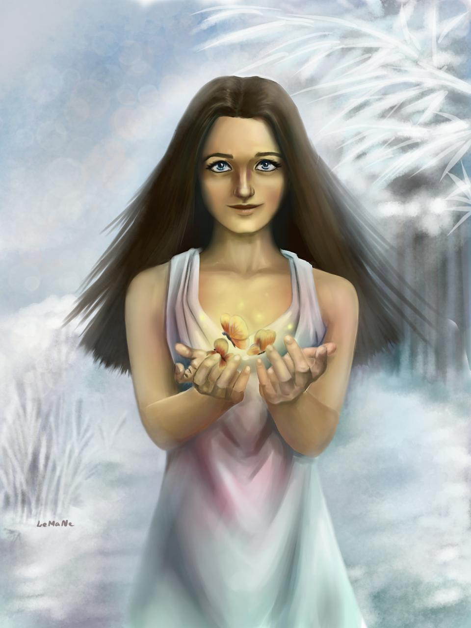 Б2 Illust of Lema-lisa medibangpaint winter fairytale butterfly spring