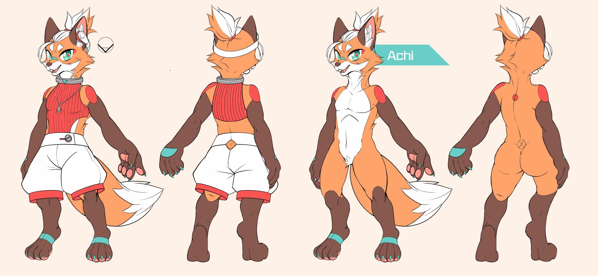 New Ref Sheet Illust of Achi September2020_Contest:Furry fox furry neon fursona furryoc