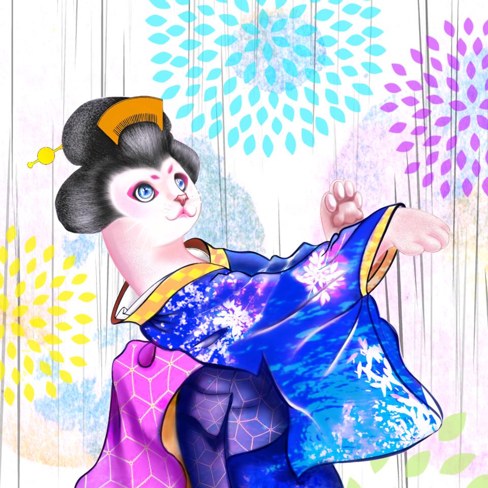 Cat 花火 Illust of Sunevto MyIdealWaifu July2020_Contest:Anniversary MyIdealWaifu_MyIdealHusbandoContest Kyoto_Award2020_illustration September2020_Contest:Furry original cat illustrations furry Artstreet_rank summer fireworks