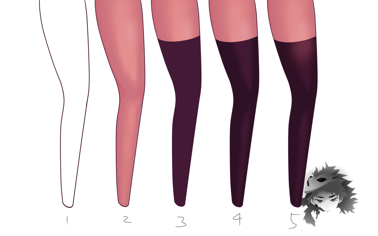 Stocking or Tight Tutorial Illust of ンリデエ Stocking tutorial thighs thighhighs tights