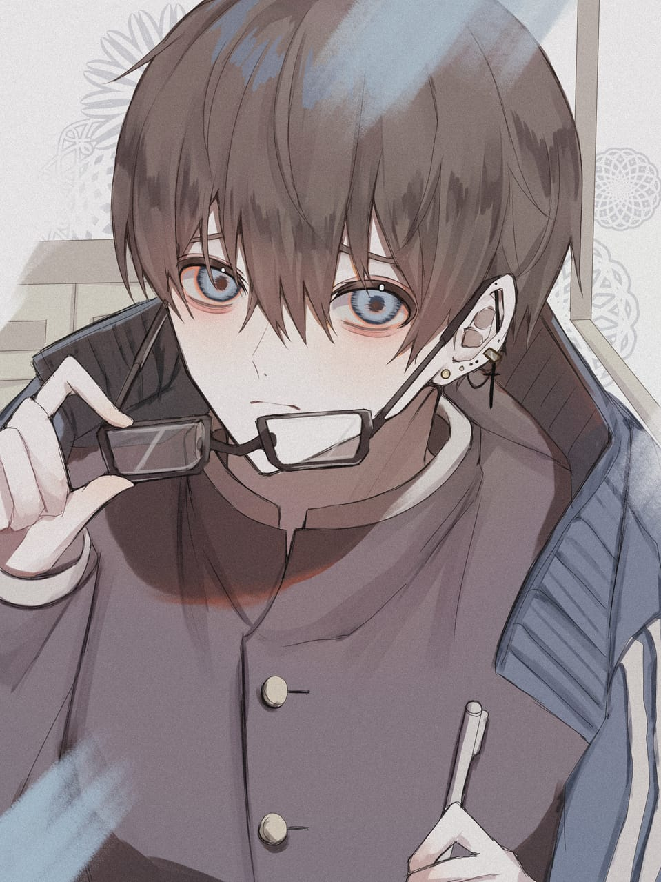 Illust of つぶ original 黒髪 piercing 学ラン boy glasses Medibang oc
