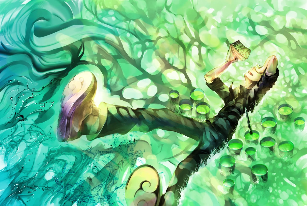 Summer paints Illust of Lear ART_street_Illustration_Book_Contest February2021_Fantasy art summer Shadow trees book watercolor grass characterdesign paint
