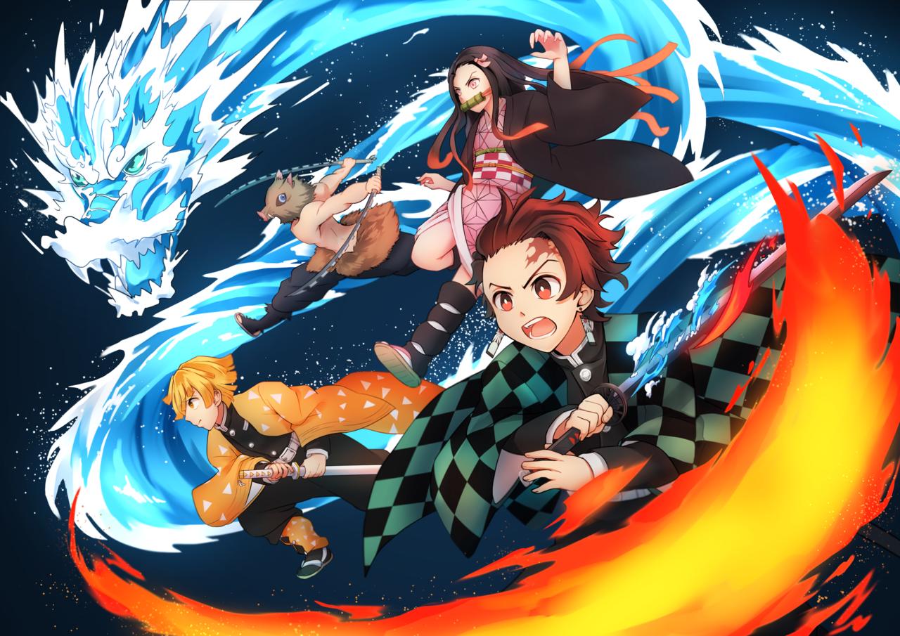 全力前進!! Illust of イルカ DemonSlayerFanartContest KamadoNezuko KimetsunoYaiba KamadoTanjirou AgatsumaZenitsu HashibiraInosuke
