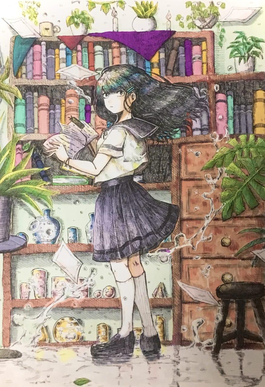 光の図書室 Illust of はねづ AnalogDrawing girl original