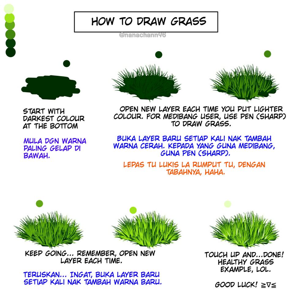 Tutorial grass drawing, lol. Illust of Kitsune san medibangpaint メイキング grass tutorial 草メイキング