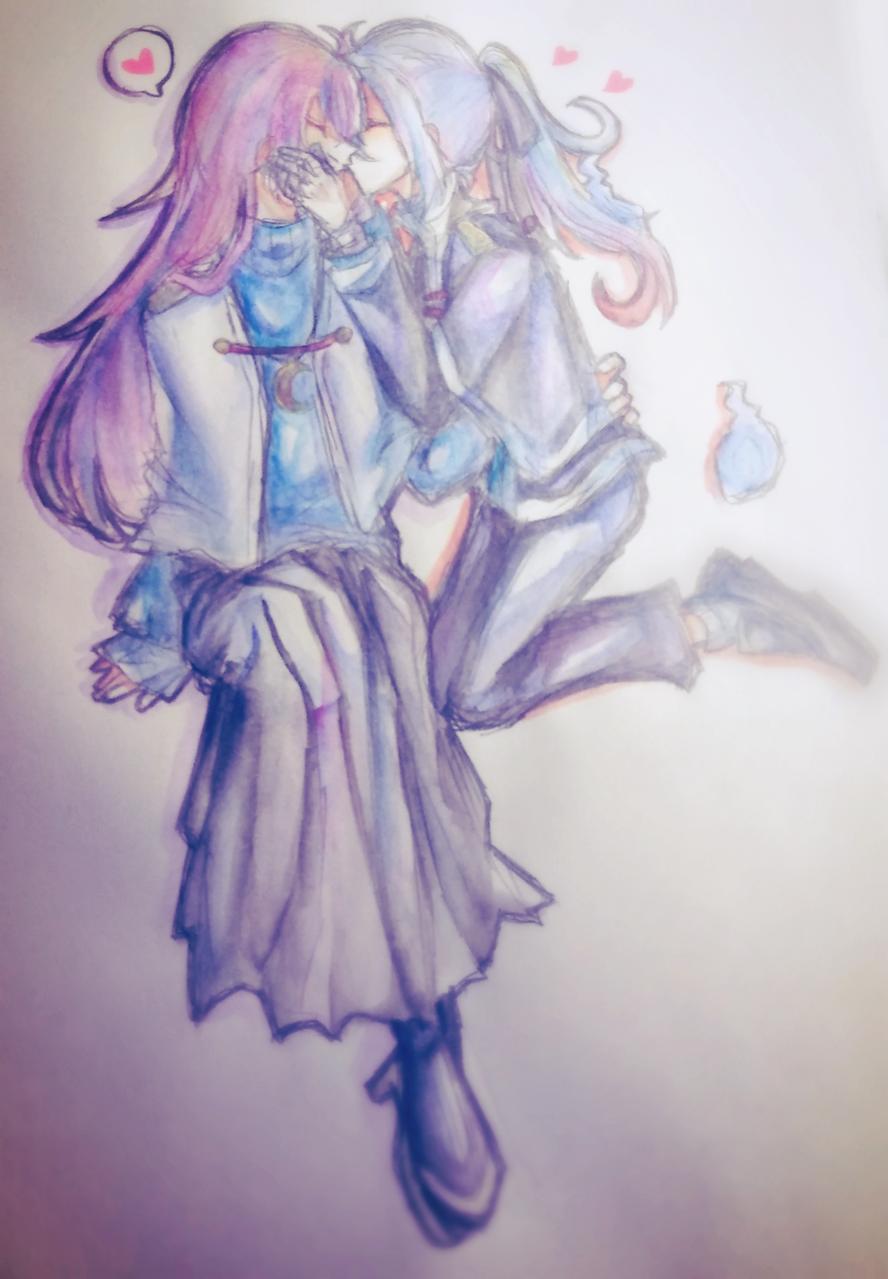 💕 Illust of 墨野 蒼 BL medibangpaint 幽霊 水彩色鉛筆 アナログ oc