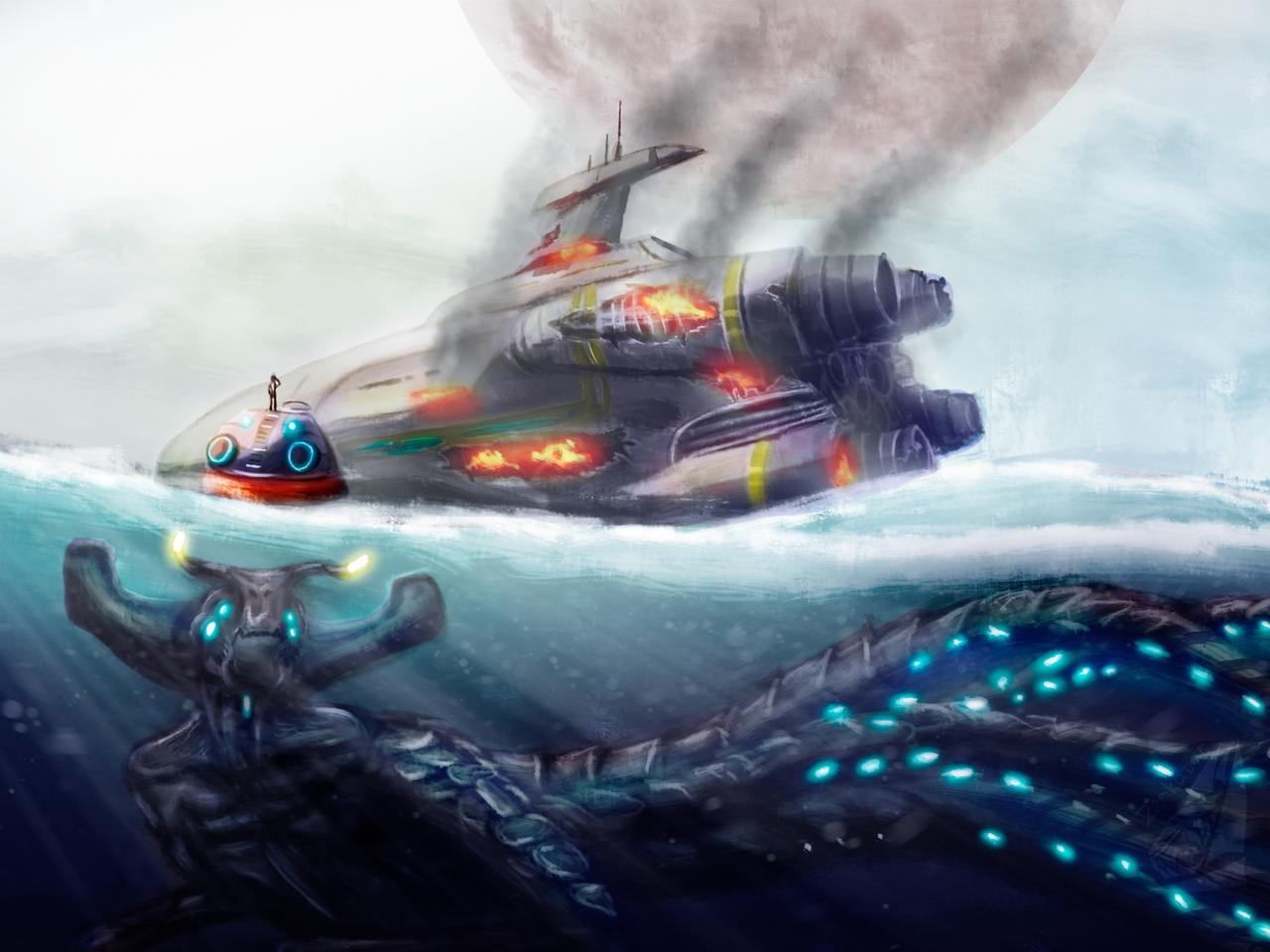 Subnautica fan art Illust of ℤ𝕖𝕟𝕜𝕒𝕥𝕒𝕣 medibangpaint monster fanart realistic gameart