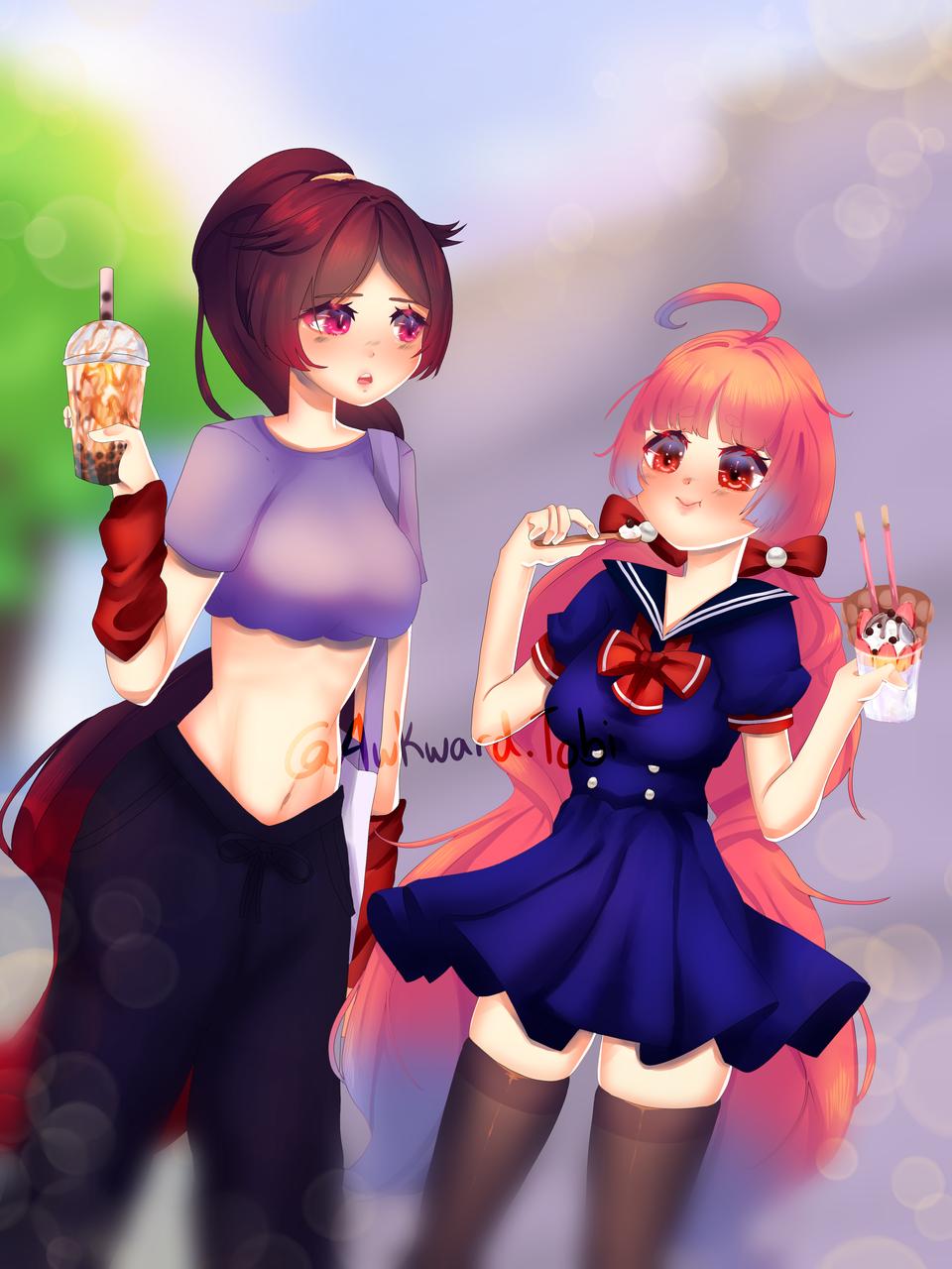 hanging out Illust of AwkwardTobi food illustration Artwork anime eating