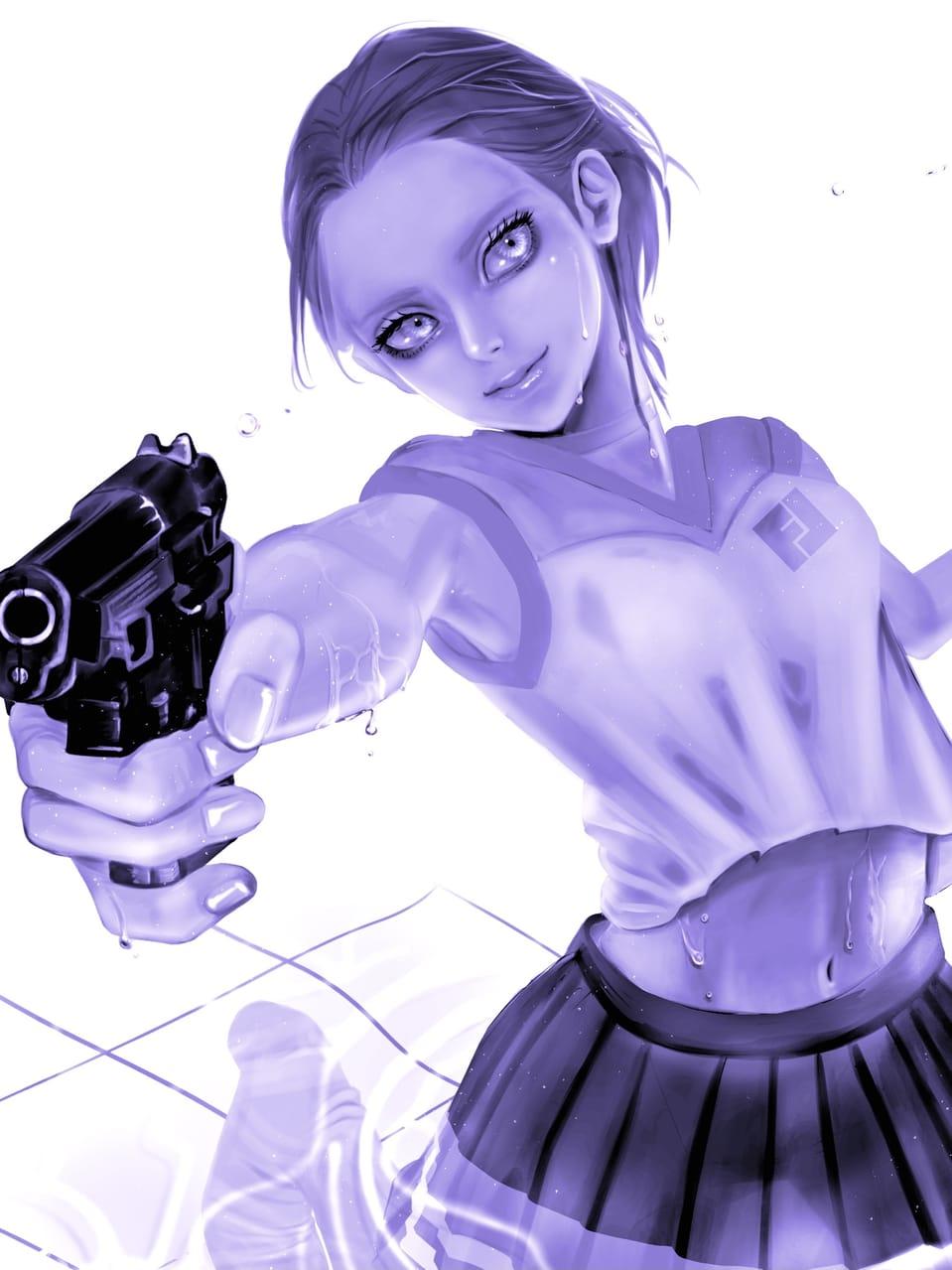 水鉄砲だよ Illust of FJ May2021_Monochrome medibangpaint girl チアガール impasto water purple