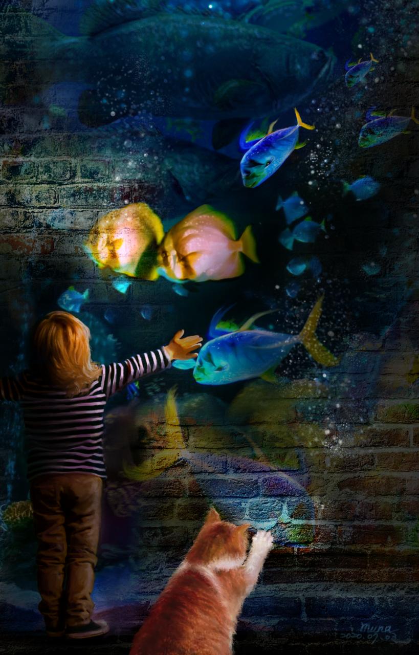 Ocean on the wall    愛畫畫的沐娜 Illust of muna July2020_Contest:Anniversary June2020_Contest:Street_Art illustration painting sea doodle girl digital