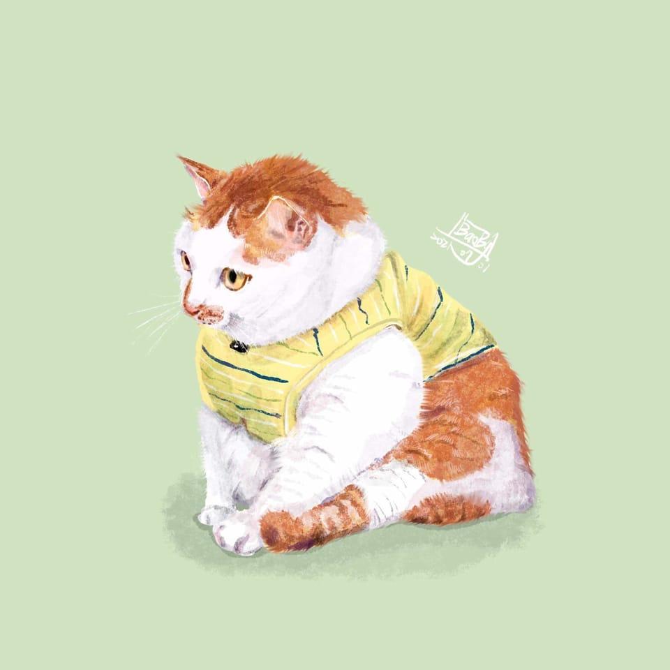 嗯..我剛剛要幹嘛? Illust of BAOBY 保庇你 August2021_Animal 貓咪 似顔絵 illustration