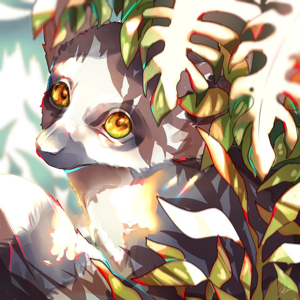 あつい Illust of 内咲ひまり oc animal 創作イラスト original ワオキツネザル