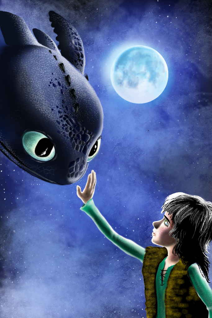Digital painting of How to train your dragon poste